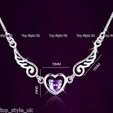 925 Sterling Silver Angel Wings Heart Necklace Pendant Christmas Xmas Love Gift