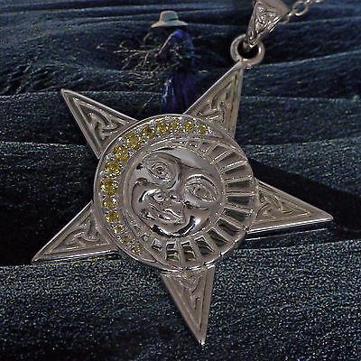 WohltäTig Peter Stone Wicca Magie Pentakel Triquetra 925 Silber Schutzamulett Drudenfuß Guter Geschmack