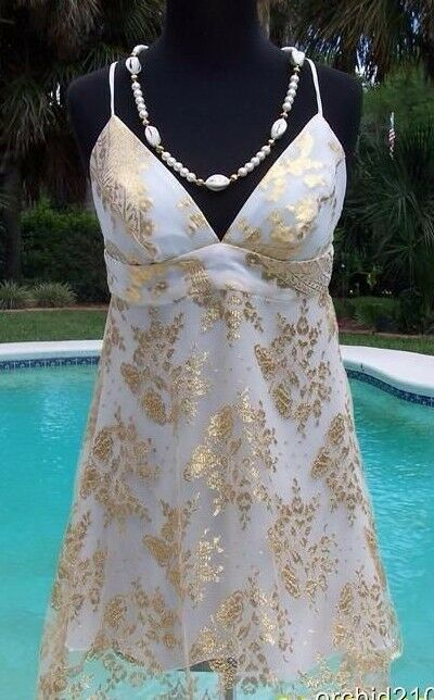 Cache gold Metallic Silk Sheer Illusion Lace Top Dress New S M 2 4 6 8  NWT