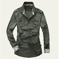 New Men's Epaulet Military Cotton Casual Slim Dress Shirts Long Sleeve XT277