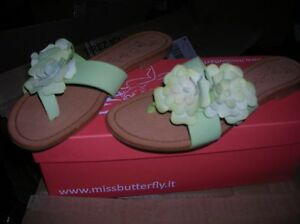 NEUVES-VAL-75-EU-sandales-cuir-vertes-MISS-BUTTERFLY-CHAUSSURES-FEMME-FILLE-1