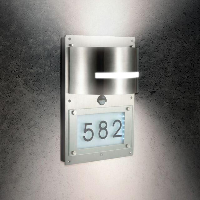 Grafner Edelstahl Wandlampe Hausnummer Beleuchtet Bewegungsmelder Led 592