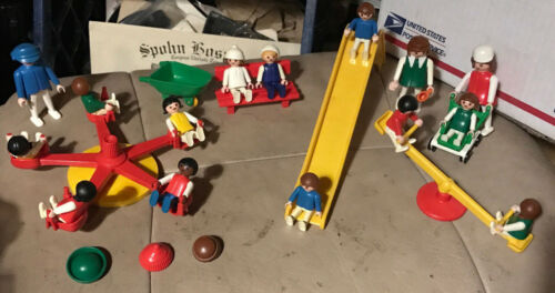 1974 & 1981 Playmobil playground set wextras clean condition & low price