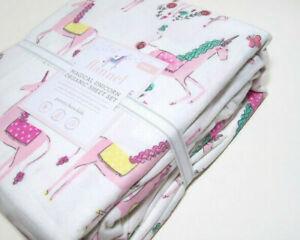Pottery-Barn-Kids-Pink-Magical-Unicorn-Organic-Cotton-Flannel-Twin-Sheet-Set-New
