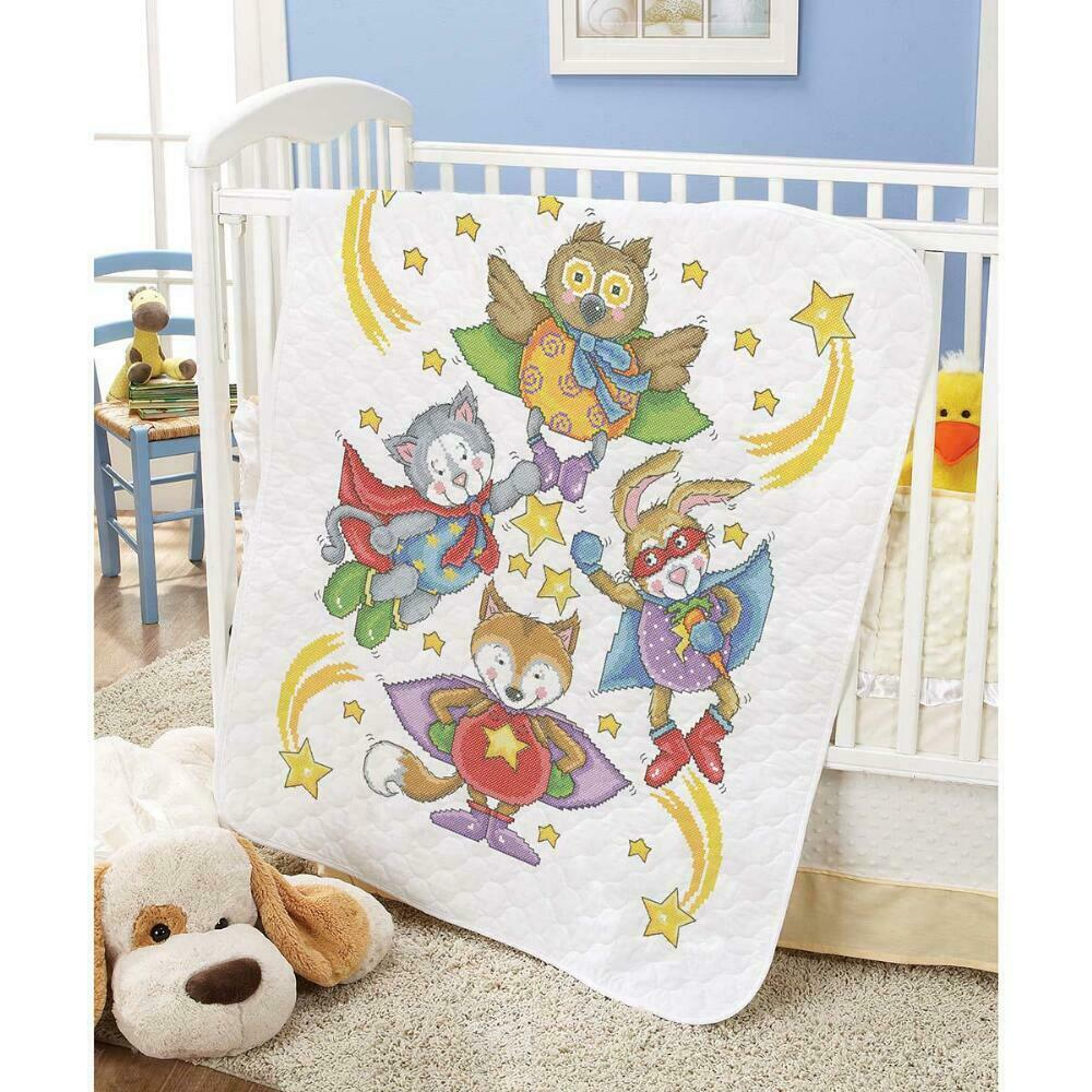 Herrschners Pre-Quilted Polar Pals Baby Quilt Stamped Cross-Stitch Kit