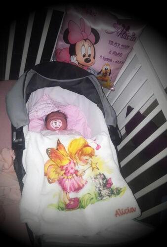 couverture bébé personnalisé naissance baptème prenom taille poids réf 28