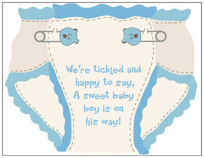 20 BABY Boy BLUE Diaper SHOWER PARTY INVITATIONS Flat Cards & Envelopes
