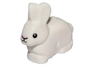 Bunny Sitting w// Black Nose /& White Beard Lt Gray Minifig Animal LEGO