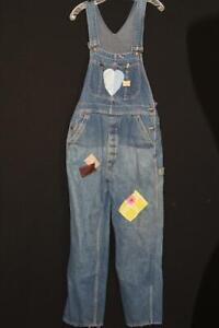 RARE VINTAGE DECORATED 1950'S PAY-DAY BRAND BLUE DENIM OVERALLS SIZE MEDIUM