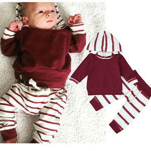 ba782c10d 2PCS Toddler Infant Baby Boys Clothes Fall Striped Hooded Tops Pants ...