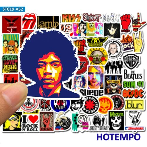 50Pcs Rock and Roll Punk Music Band Sticker Pack Waterproof Laptop Phone Decals