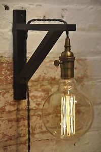 Wall Sconce Gray Over Brass Light Lamp Industrial Retro Vintage Solid Wood eBay