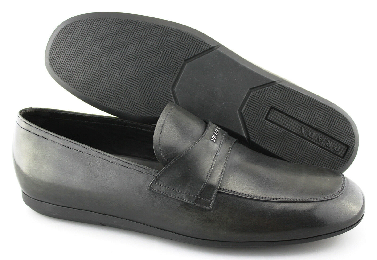 Men's PRADA 'Milano' Charcoal grigio Leather Loafers Dimensione US 11 PRADA 10