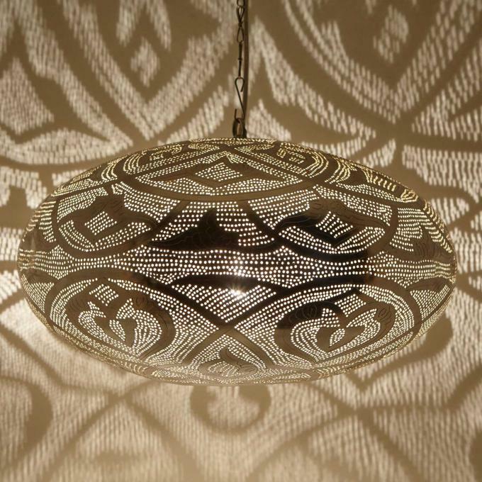 Orientalische Lampe Marokkanische, versilberte Hängeleuchte Laterne  Sefrou D50