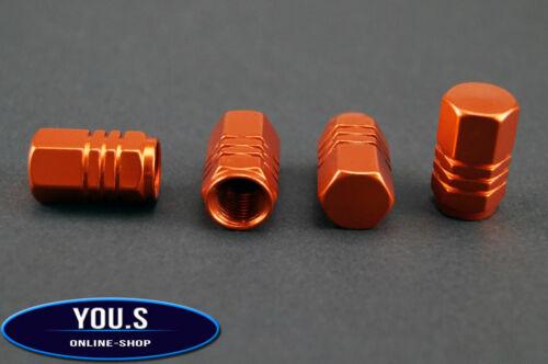 NEU 4 Stück orange Sechskant Alu Ventilkappen für Autos PKW LKW Motorrad