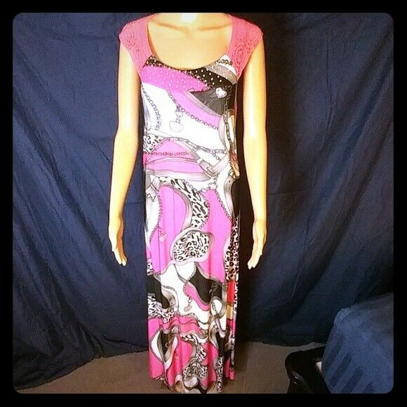 Beautiful Couture Style Maxi Dress Rosa Silky Stretchy - M - New