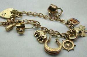 1970-039-s-Vintage-9-carat-Gold-Charm-Bracelet-With-Nine-Charms