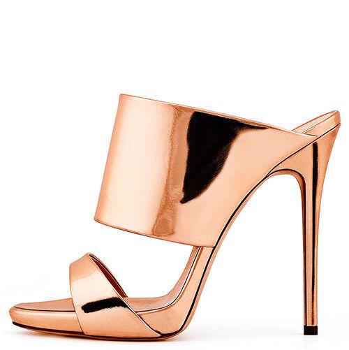 Women Open Toe High Heel Sandals Metallic Leather Mule Summer Shoes Slip On New