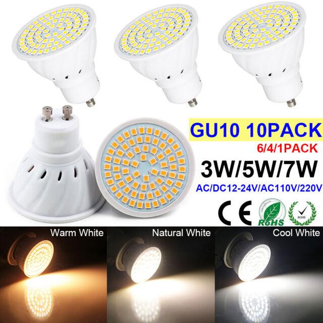 4 6 10x Led Gu10 Light Bulbs 3w 5w 7w Spotlight Warm Cool White Lamp 3000 6000k
