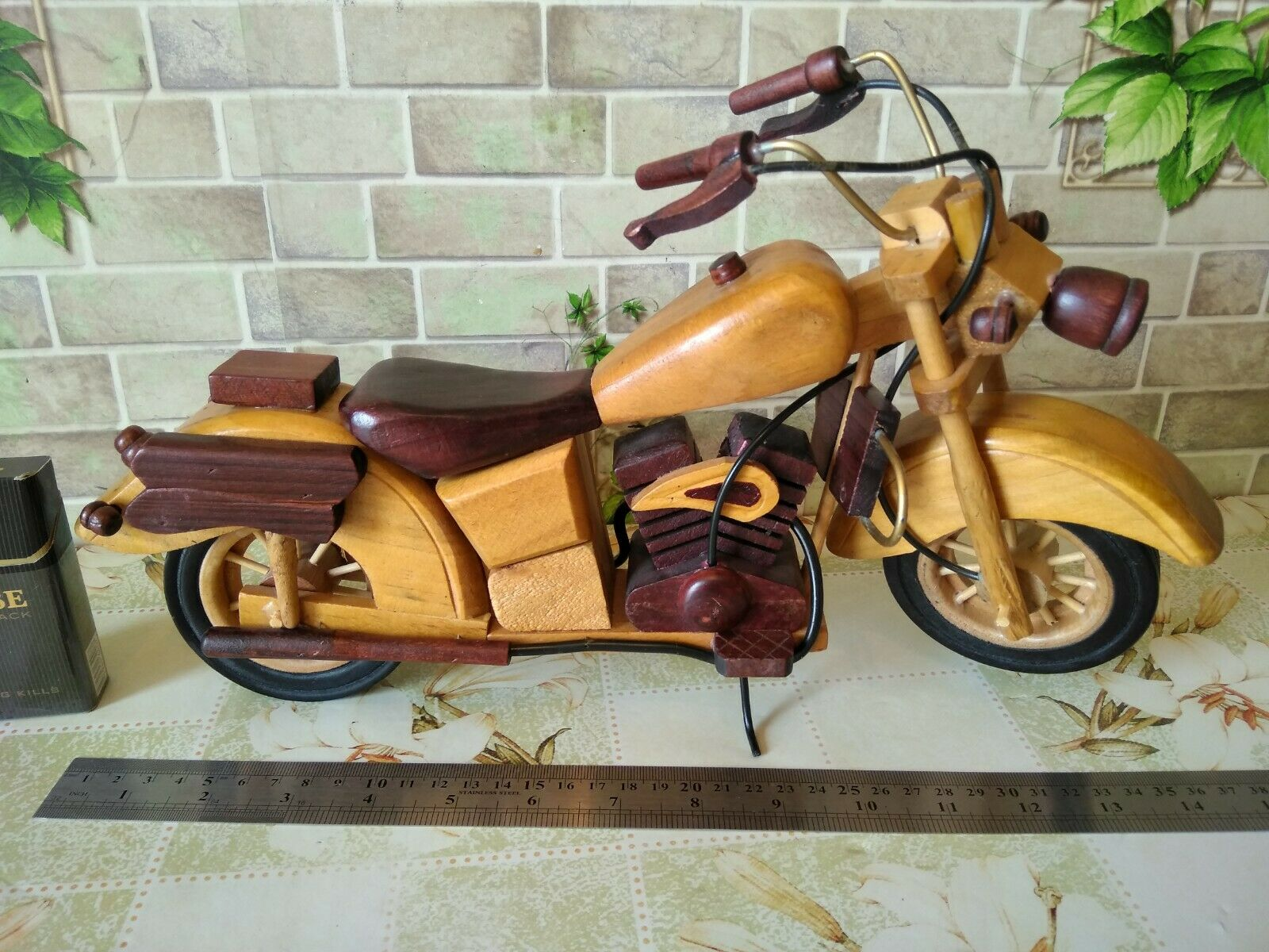Vintage vélo moto Harley Davidson en bois jouet voiture fait main