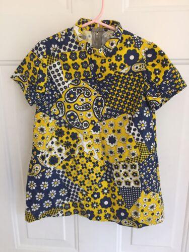 Vintage 1960s Toddler Girls Patchwork Blue Yellow… - image 1