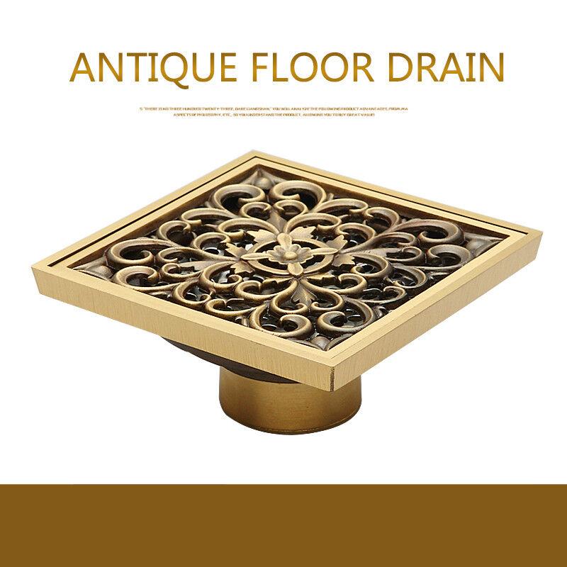 Bathroom Antique Brass Square Shaped Flower Carved Shower Waster Floor Drain Set