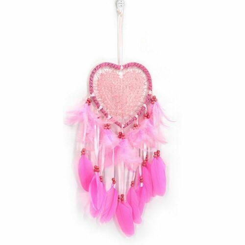 LED String Light Dream Catcher Heart Shape Feather Pendant Home Hanging Decor