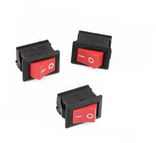 3pcs NEW Red Rocker Switch 2 Pin KCD1-101 250V 6A Boatlike Switch