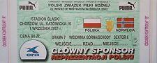 TICKET 1.9.2001 Polska Polen - Norwegen