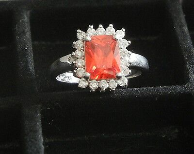Dazzling Size 7 Sterling Silver Ring With Genuine Garnet & CZ #4