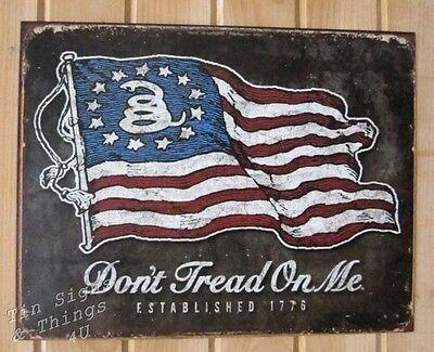 Don't Tread On Me USA Flag TIN SIGN patriotic garage bar rustic wall decor 1873