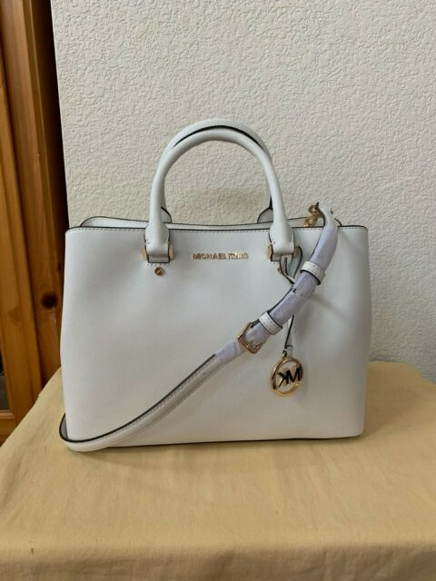 $400 NWT MICHAEL KORS Optic White Savannah Large Saffiano Leather Satchel