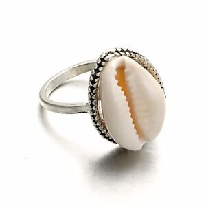 6b55b0268e3db Details about Nature Cowrie Shell Ring Handmade Silver Band Rings Women's  Jewelry Xmas Gift