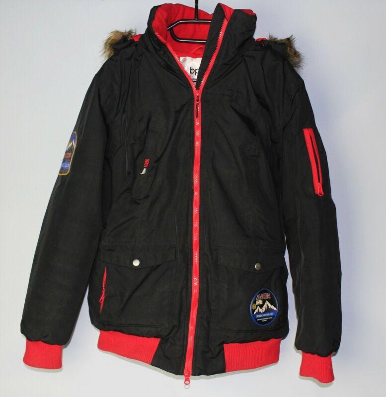 Winterjacke Schwarz Rot Gr. 44 Damen Kapuze Bpc