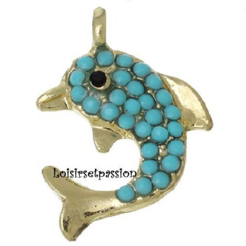 Poisson dauphin 108 BRELOQUE // CHARM doré 15 x 21 mm strass perle turquoise