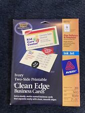 Avery Ink Jet Matte Ivory 8876 Clean Edge Business Cards 130 Cards13 Sheets