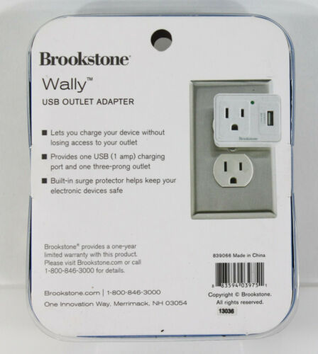 Brookstone Wally USB Outlet Adapter Charge Device without Blocking Outlet NEW