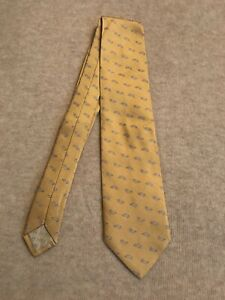 Hermes-Paris-100-Silk-Mans-Tie-Yellow-Color-Brand-New-Made-In-France