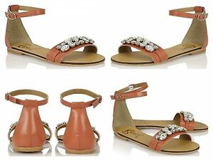 Women's Sandals RAVEL Genuine Leather Coral Jewelled Embellished Sizes 3 UK 8 UK