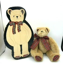 MFG by M & G Pacific Plush Brown Teddy Bear Jointed Plaid Bow in original box