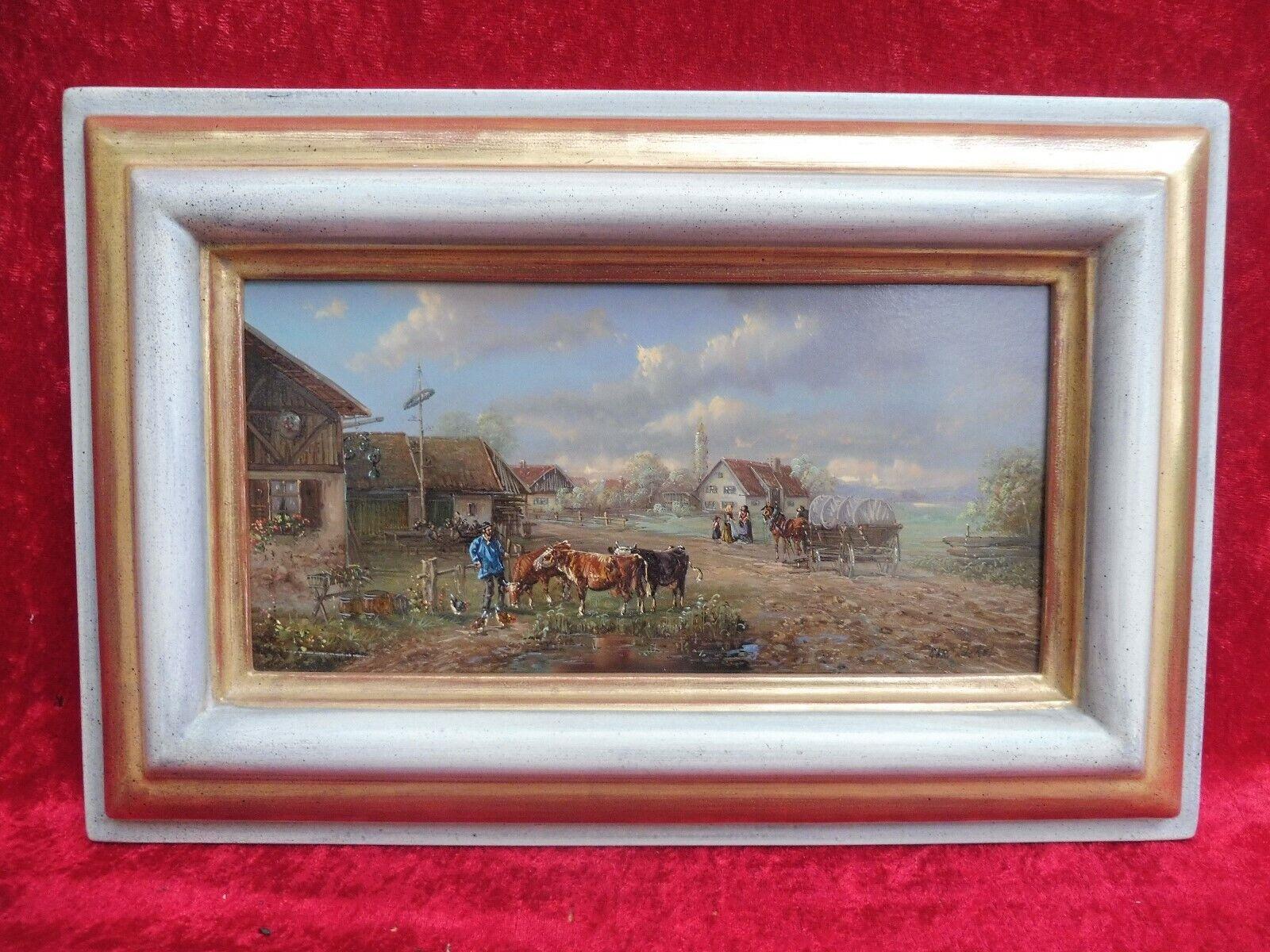 Schönes, hochwertiges Gemälde ,  belebte Dorfidylle   ,  Christian Lückel