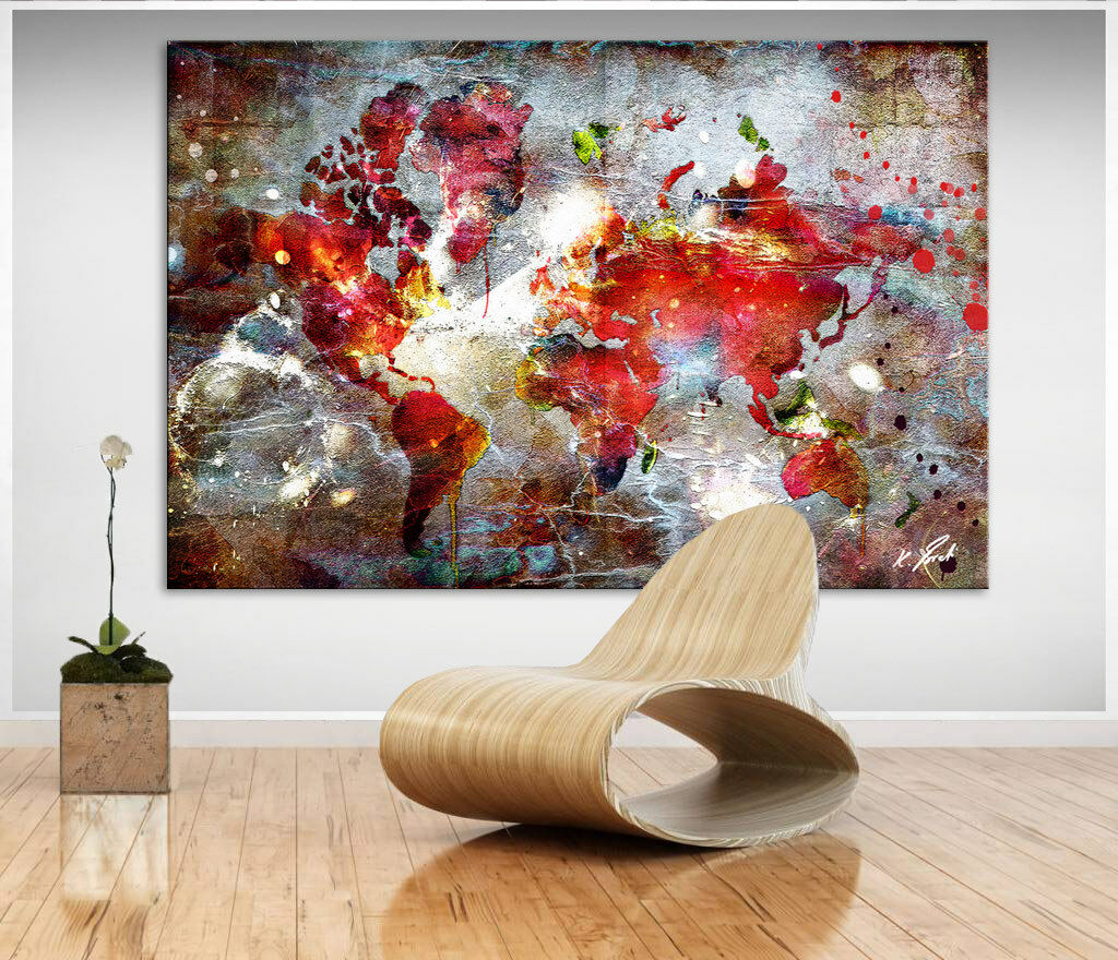 Landkarte Weltkarte Buntes Bild Leinwand Abstrakte Kunst Bilder Wandbilder D0768