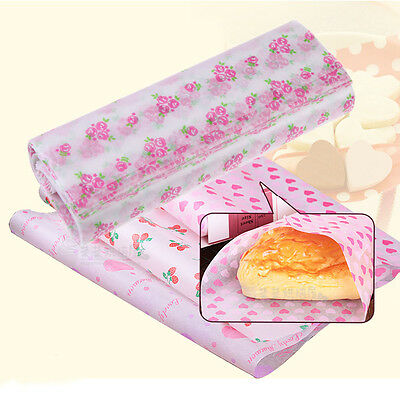 50pcs 4 Printed Pattern Tissue Wrapping Paper Waterproof Greaseproof Food Wrap