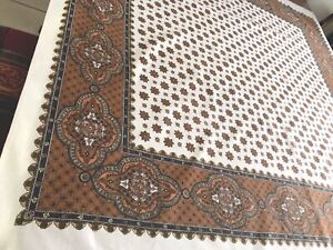 Vintage-Cream-Cotton-Printed-Paisley-Pattern-Tablecloth-48x52-Inches