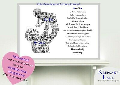 PERSONALISED DAD FATHER DADDY GIFT WORD ART FOR HIM ON BIRTHDAY CHRISTMAS ETC