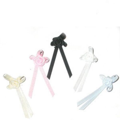 Satin Ribbon Cross Bows with Flower x 10