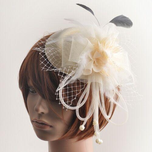 Women Handmade Pillbox Hat Fascinator Hair Clip Beads Feather Flower Accessory