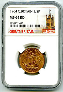 1964 GREAT BRITAIN 1/2 P HALF PENNY NGC MS64 RD GOLDEN HIND HALFPENNY RARE