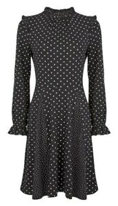 Dorothy-Perkins-Black-Spot-Print-Frill-Neck-Swing-Dress-Size-UK-8-New-With-Tags