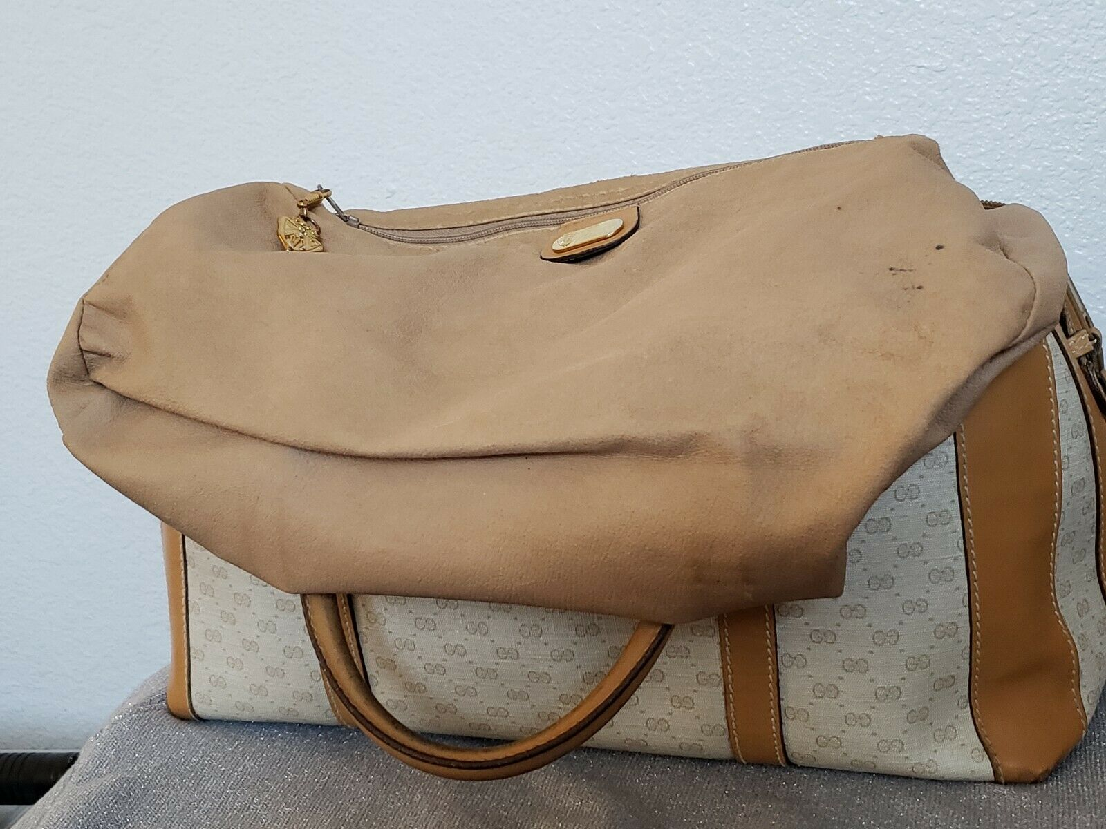 Vtg Gucci Tan GG Monogram Signature Boston Doctor… - image 7